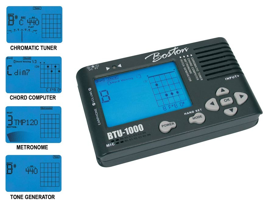 Boston deluxe chromatic tuner with metronome, chord computer and pitch generator