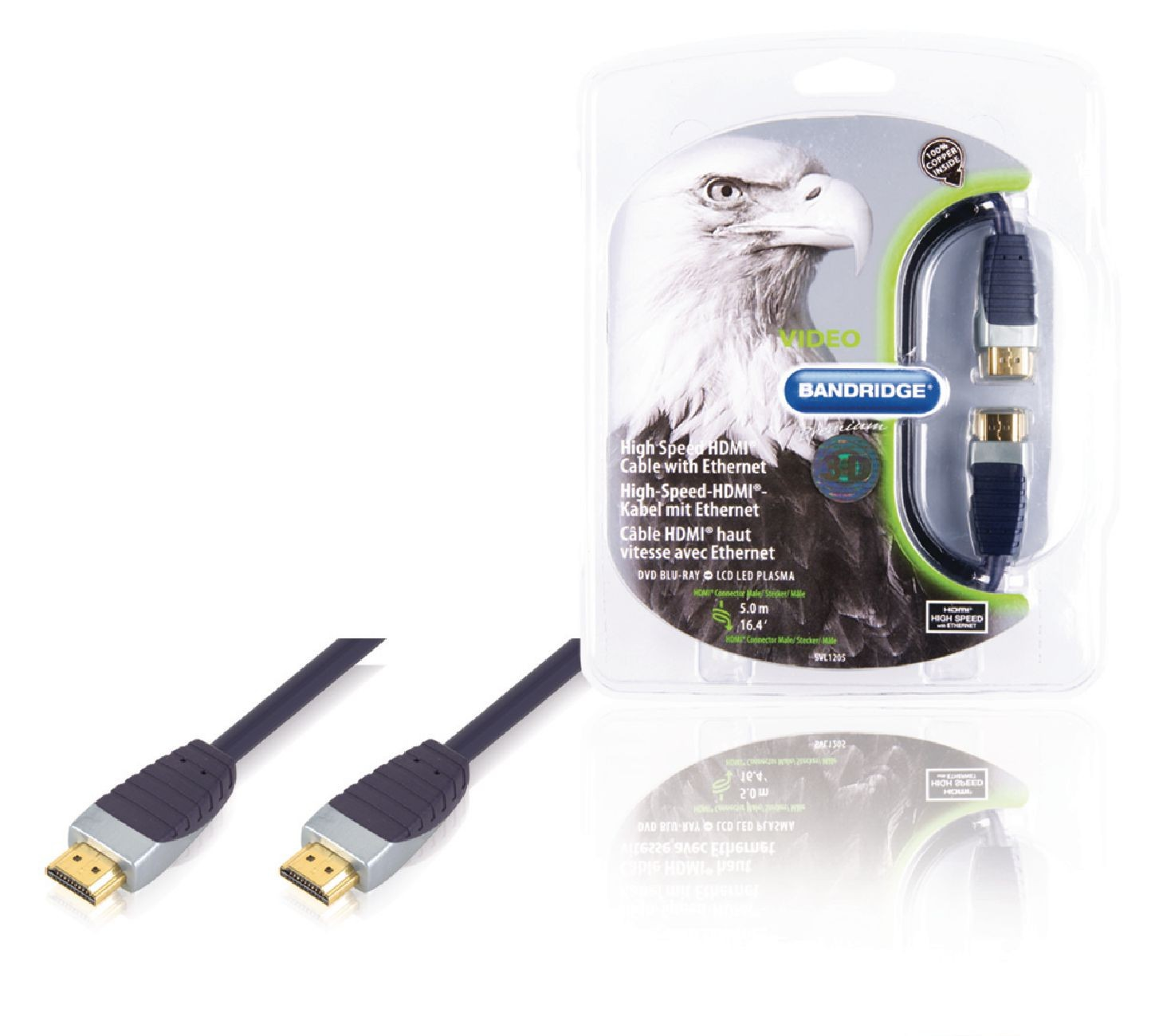 High Speed HDMI Cable with Ethernet HDMI Connector - HDMI Connector Svart