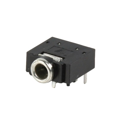 3.5mm stereo jack chassis socket (PCB), with switch JC-128  (5 stk)